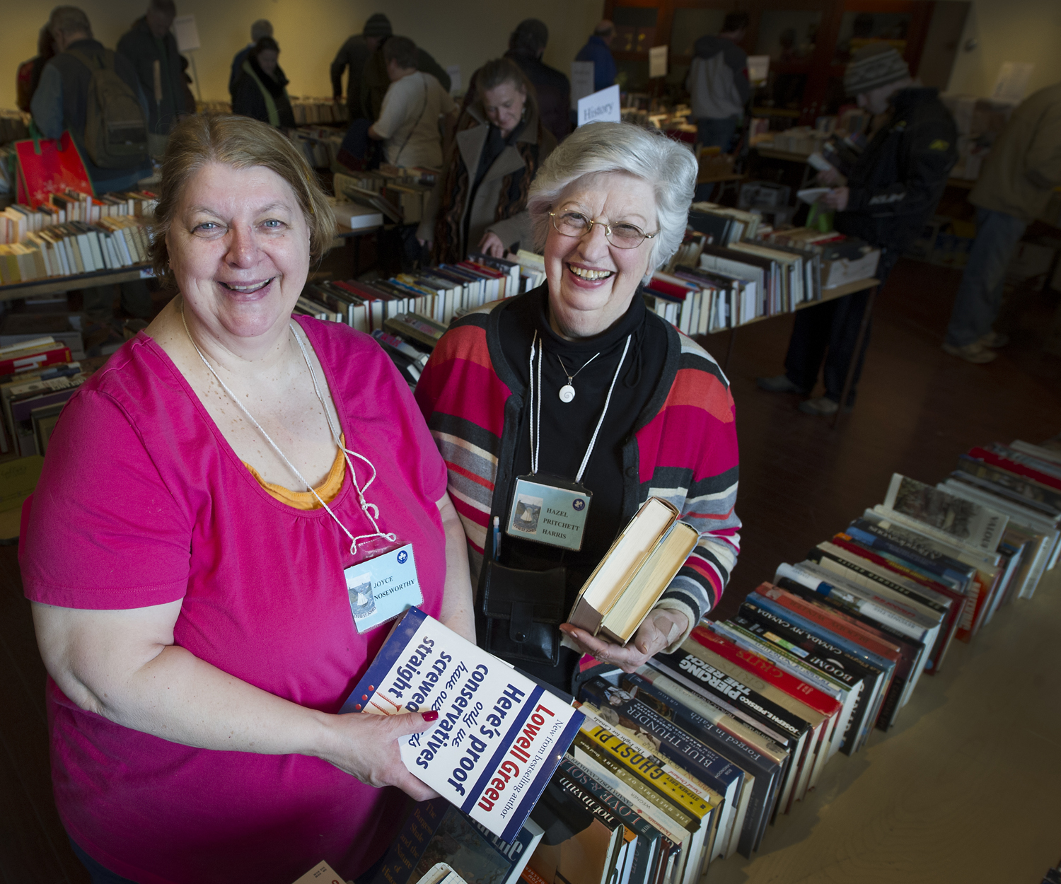 From left are Joyce Noseworthy, CFUW vice president and chair of the group's annual Book Sale Committee, and Hazel Pritchett Harris, CFUW president.