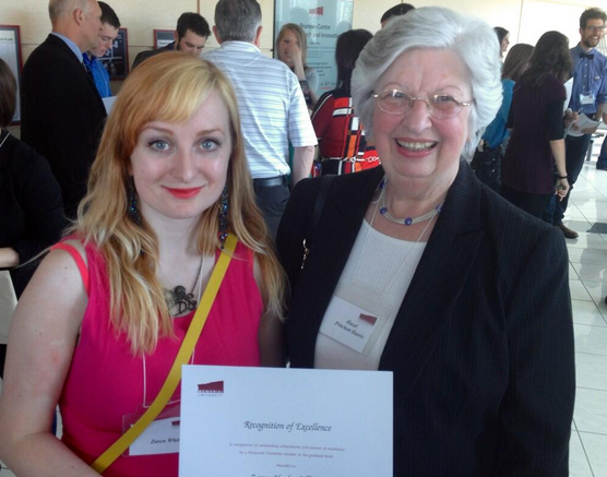 From left are Arts alumna Zaren Healey White, a recipient of a CFUW scholarship, and CFUW's Hazel Pritchett Harris.